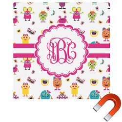 Girly Monsters Square Car Magnet (Personalized)