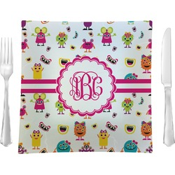 "Girly Monsters 9.5"" Glass Square Lunch / Dinner Plate- Single or Set of 4 (Personalized)"