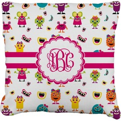 Girly Monsters Burlap Pillow Case (Personalized)