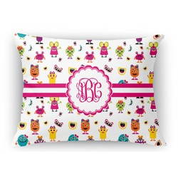 Girly Monsters Rectangular Throw Pillow Case (Personalized)