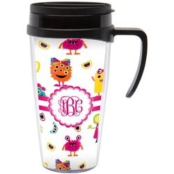 Girly Monsters Travel Mug with Handle (Personalized)