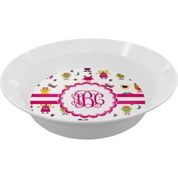 Girly Monsters Melamine Bowl (Personalized)