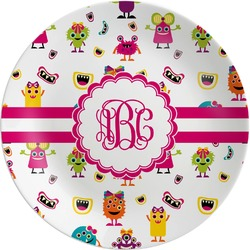 Girly Monsters Melamine Plate (Personalized)