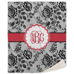 Black Lace Sherpa Throw Blanket (Personalized)