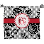 Black Lace Full Print Bath Towel (Personalized)