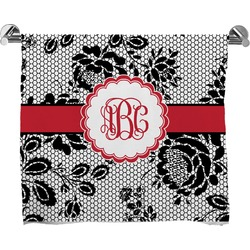 Black Lace Full Print Bath Towel (Personalized)