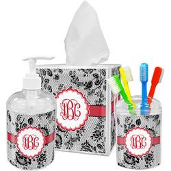 Black Lace Bathroom Accessories Set (Personalized)