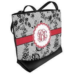 Black Lace Beach Tote Bag (Personalized)