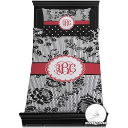 Black Lace Duvet Cover Set - Toddler (Personalized)