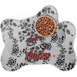 Black Lace Bone Shaped Dog Food Mat (Personalized)