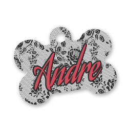 Black Lace Bone Shaped Dog ID Tag (Personalized)