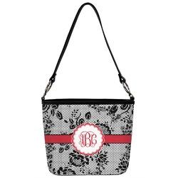 Black Lace Bucket Bag w/ Genuine Leather Trim (Personalized)