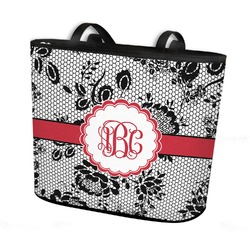 Black Lace Bucket Tote w/ Genuine Leather Trim (Personalized)