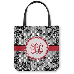 "Black Lace Canvas Tote Bag - Small - 13""x13"" (Personalized)"