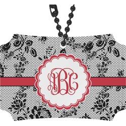 Black Lace Rear View Mirror Ornament (Personalized)