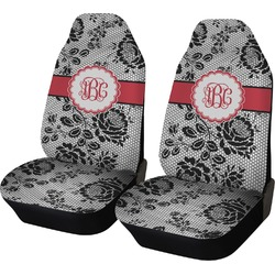 Black Lace Car Seat Covers (Set of Two) (Personalized)