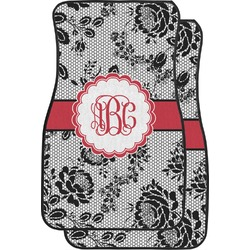 Black Lace Car Floor Mats (Front Seat) (Personalized)