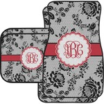 Black Lace Car Floor Mats (Personalized)
