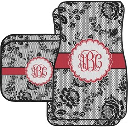 Black Lace Car Floor Mats Set - 2 Front & 2 Back (Personalized)