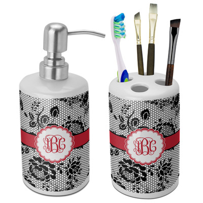 Black Lace Ceramic Bathroom Accessories Set (Personalized)