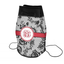 Black Lace Neoprene Drawstring Backpack (Personalized)