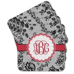 Black Lace Cork Coaster - Set of 4 w/ Monogram