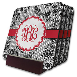 Black Lace Coaster Set w/ Stand (Personalized)