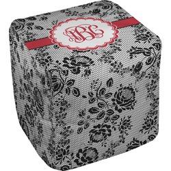 Black Lace Cube Pouf Ottoman (Personalized)