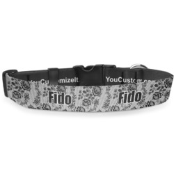 """Black Lace Deluxe Dog Collar - Double Extra Large (20.5"""" to 35"""") (Personalized)"""
