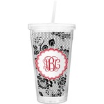 Black Lace Double Wall Tumbler with Straw (Personalized)