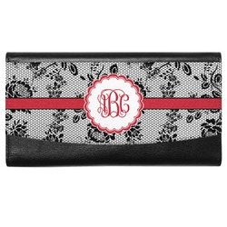 Black Lace Genuine Leather Ladies Wallet (Personalized)