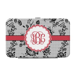 Black Lace Genuine Leather Small Framed Wallet (Personalized)