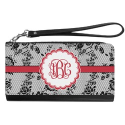 Black Lace Genuine Leather Smartphone Wrist Wallet (Personalized)