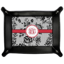Black Lace Genuine Leather Valet Tray (Personalized)