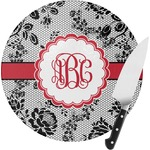 Black Lace Round Glass Cutting Board (Personalized)