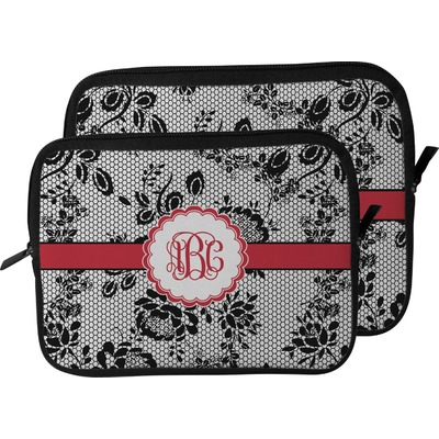 Black Lace Laptop Sleeve / Case (Personalized)