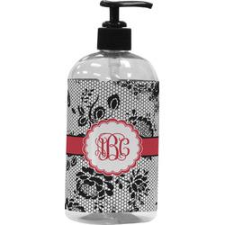 Black Lace Plastic Soap / Lotion Dispenser (16 oz - Large) (Personalized)