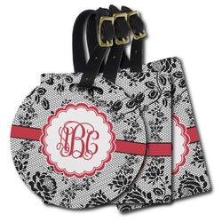 Black Lace Plastic Luggage Tags (Personalized)