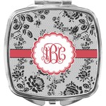 Black Lace Compact Makeup Mirror (Personalized)