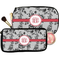 Black Lace Makeup / Cosmetic Bag (Personalized)