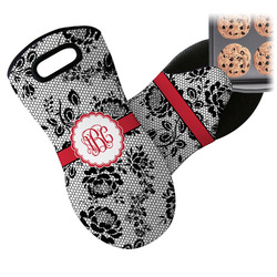 Black Lace Neoprene Oven Mitt (Personalized)