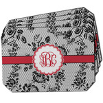 Black Lace Dining Table Mat - Octagon w/ Monogram