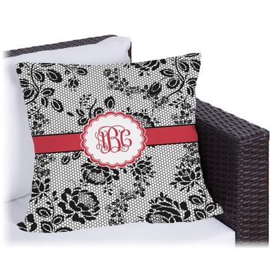 Black Lace Outdoor Pillow (Personalized)