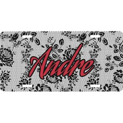 Black Lace Front License Plate (Personalized)