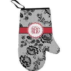 Black Lace Right Oven Mitt (Personalized)