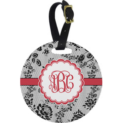 Black Lace Round Luggage Tag (Personalized)