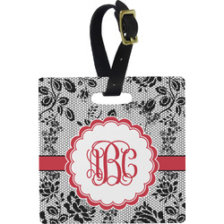 Black Lace Square Luggage Tag (Personalized)