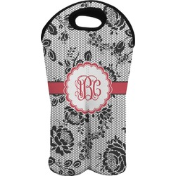 Black Lace Wine Tote Bag (2 Bottles) (Personalized)
