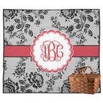 Black Lace Outdoor Picnic Blanket (Personalized)