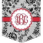 Black Lace Iron On Faux Pocket (Personalized)